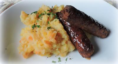 Honey & Soy Glazed Sausage with Root Vegetable Mash