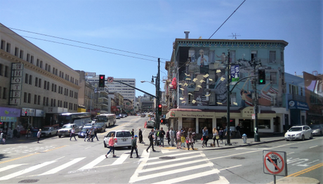 The bustling streets of SFO