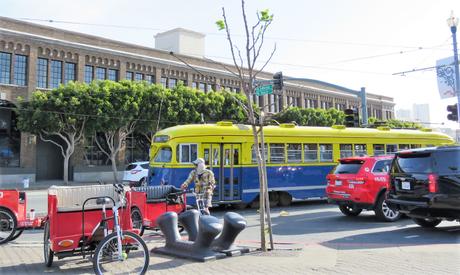 Trams and Rickshaws outside Pier 39