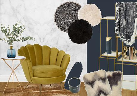 Sumptuous interior room scheme- The Glamorous Artisan. Navy and gold living room inspiration.