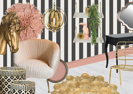 Sumptuous interior room scheme- The Femme Fatale. Pink, gold and monochrome bedroom inspiration.