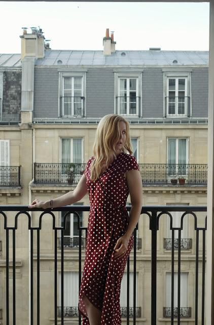 Polka Dot Wrap Maxi Dress