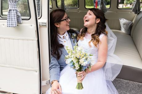 East Riddlesden Hall Wedding Photography brides sitting in VW camper van