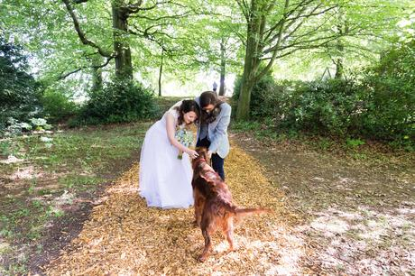 East Riddlesden Hall Wedding Photography brides petting friendly dog