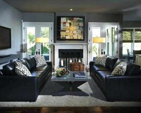 living room with gray leather sofa decorte round blck ler fmily s living room with gray leather couch