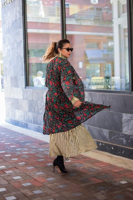 STYLE hacks millenials swear by, print mixing, zara stripe dress, street style, booties, spring look, spring outfit, aldo booties, , lulla coolection kimono, kimono style, myriad musings
