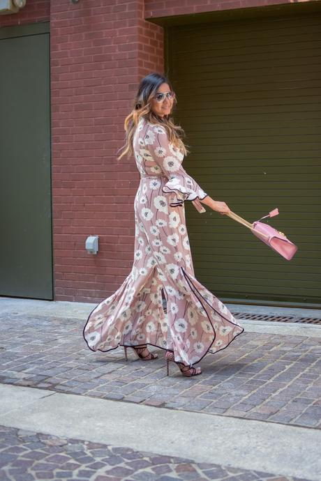 lucca couture floral flared jumpsuit, floral forever 21 jumpsit, spring fashion, pink jumpsuit with slit, pink gucci marmont bag, strap sandals, blonde hair, myriad musings