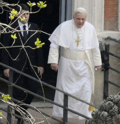 'Pope In Rome' Star Sir Anthony Hopkins Spotted As Pope Benedict