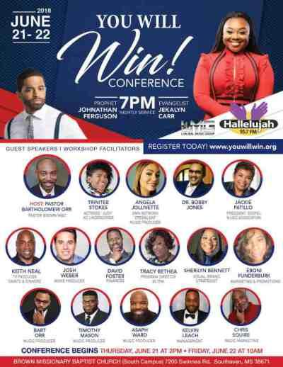 "JeKalyn Carr ""You Will Win"" Conference 1st Round Of Speakers Announced"