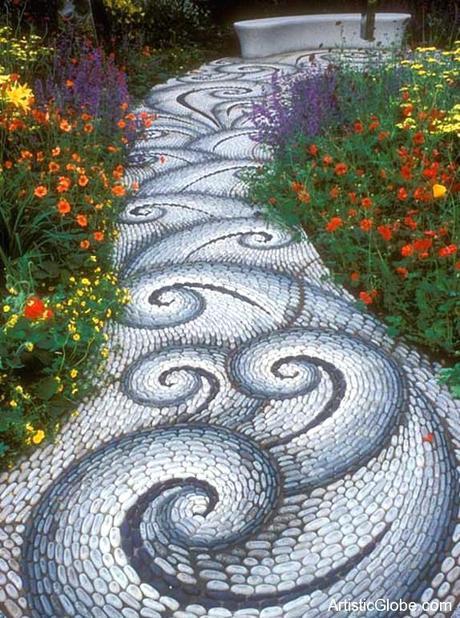 garden stone tiles grass garden stone beige tiles