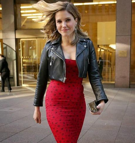 Image result for leather jackets with pencil skirt celebrities