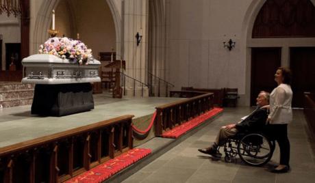 George H.W. Bush At Barbara Bush Side As He Greeted Mourners