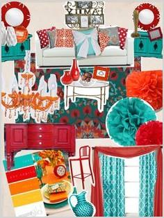 Teal And Orange Living Room Decor As