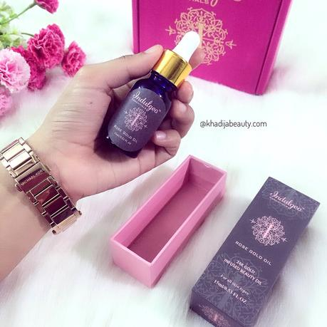 Indulgeo essemtials rose gold oil Review, khadija beauty