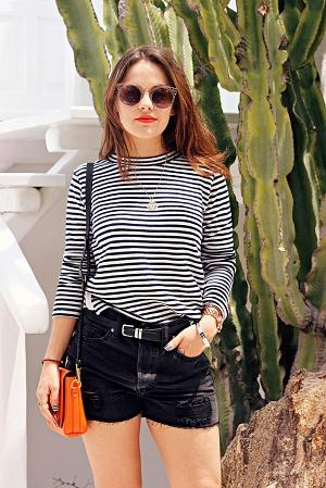 Black shorts with a striped top