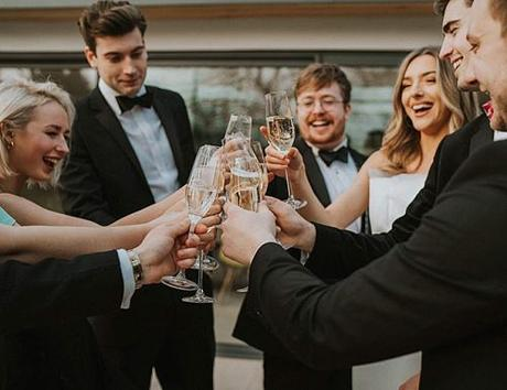 wedding toasts guests celebrate happy