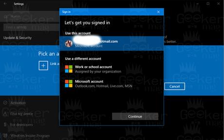 windows insider program - log into using microsoft account