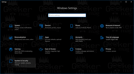 update and security settings windows 10