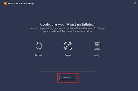 avast free antivirus window uninstall button