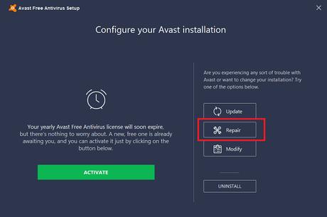 repair avast antivirus in windows 10