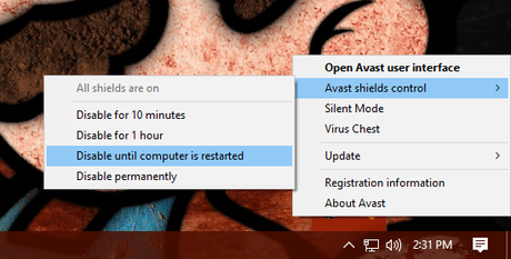 disable avast shield control
