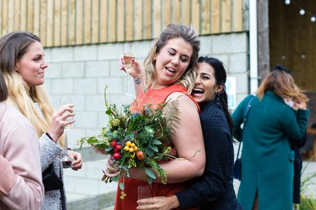 Barmbyfield Barn Wedding Photography guests laughing and having fun