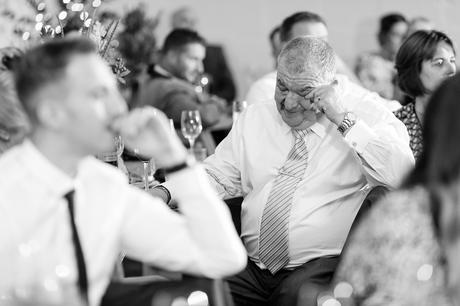 Guest cires during touching moments in speech Barmbyfield Barn Wedding Photography