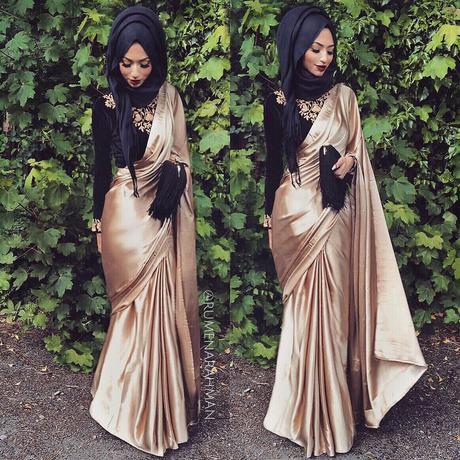 Satin saree with Hijab