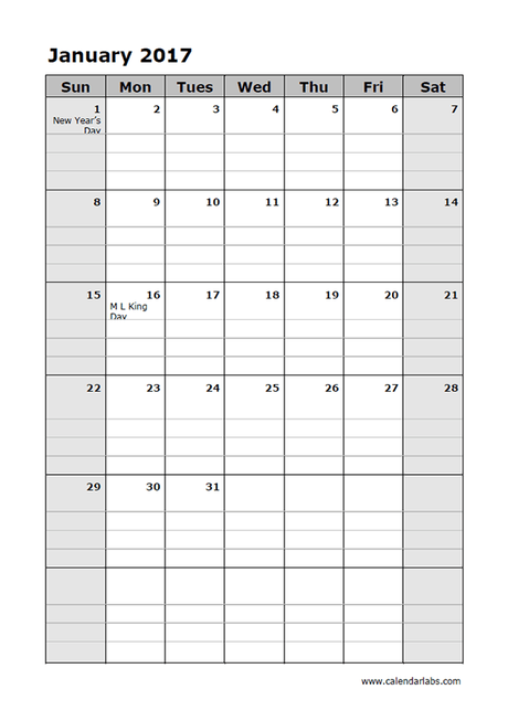 2017 Calendar Template Large Boxes