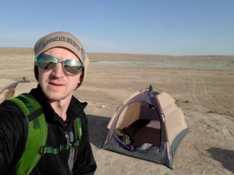 Backpacking in Turkmenistan: Camping at the Darvaza Gas Crater, Karakum Desert