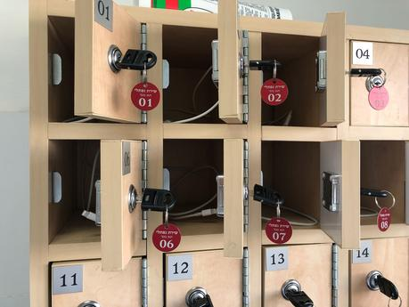 cellphone cubbies in shul