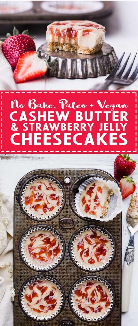 These No Bake Cashew Butter & Jelly Cheesecakes are sweet individual desserts that are lusciously creamy, simple to make, and swirled with strawberry jam. You can customize them with your favorite nut butter and jelly to make them your own! They're gluten-free, paleo and vegan.