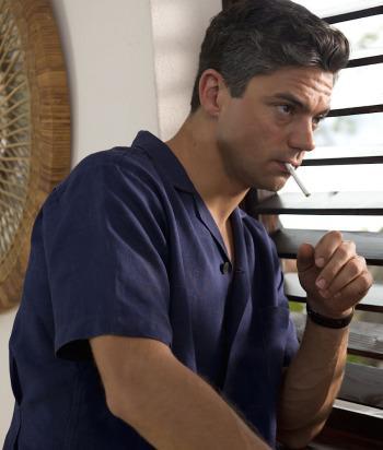 Dominic Cooper as Ian Fleming: Navy Linen Shirt