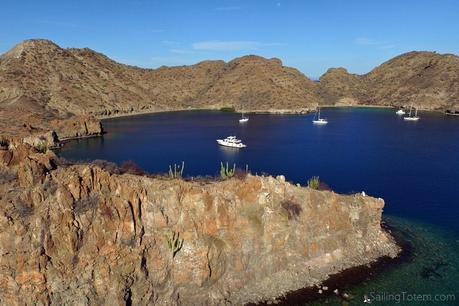 boats anchored at Isla Danzante Baja