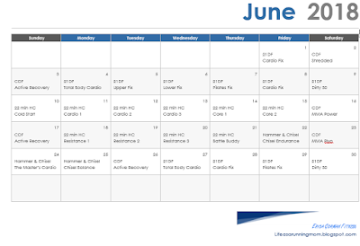 Cross Training Calendar for June 2018