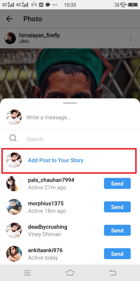 Instagram add post to your story