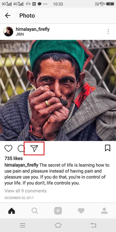 instagram post send to option