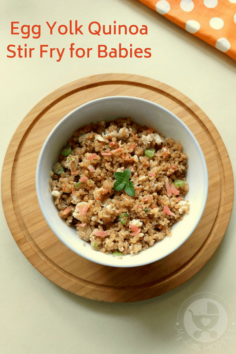 Quinoa is one of the healthiest foods around, with lots of iron, protein and fiber. Now even babies can get these benefits with this Egg Yolk Quinoa Stir Fry recipe!