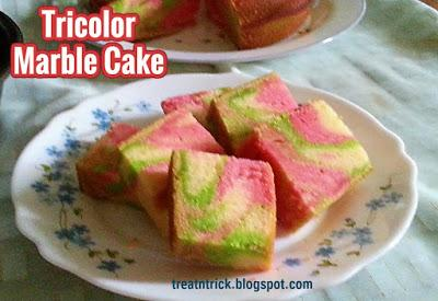Tricolor Marble Cake Recipe @ treatntrick.blogspot.com
