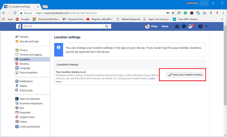 view your facebook location history