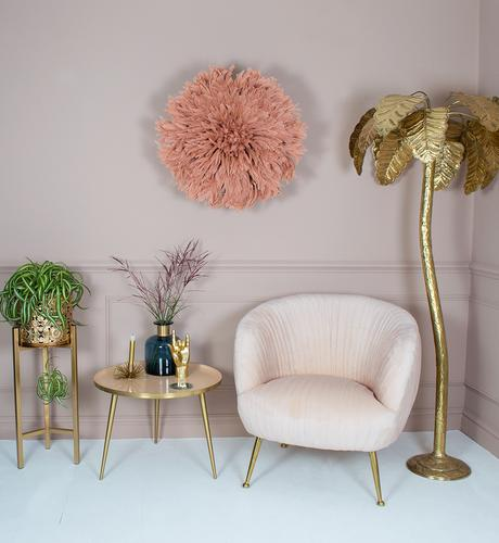 Blush pink decor inspiration. Pair pale pink walls with lashings of gold home accessories, like this stunning gold palm tree floor lamp for a soft, feminine look.