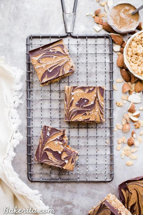 These Chocolate Almond Butter Crispy Bars are crunchy, rich, and absolutely delicious! There is no baking necessary so they're super quick and simple to make with only 7 ingredients.