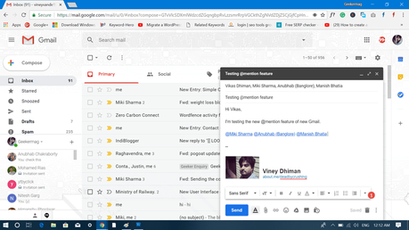 mention users in gmail message