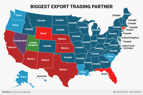 The Biggest Export/Import Trading Partners Of Each State