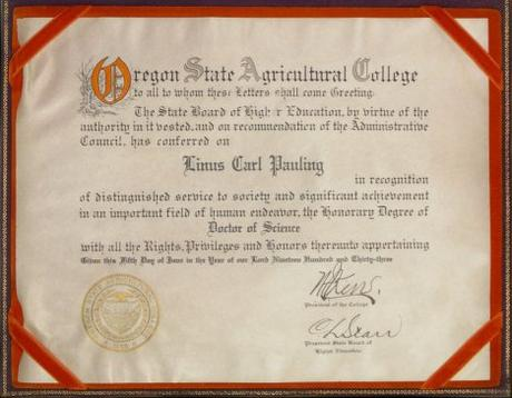 Pauling's OSAC Honorary Doctorate
