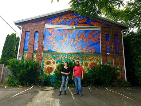 Cedar Lee (left) and Hector Hernandez (right) with Monarca Mural in Portland, OR