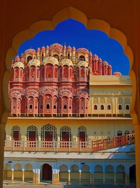 Inside the 'Hawa Mahal', looking towards the main structure, which contains the 853-windows thru which the Queens (Maharanis) of Jaipur used to view the city -- Jaipur, Rajasthan, India