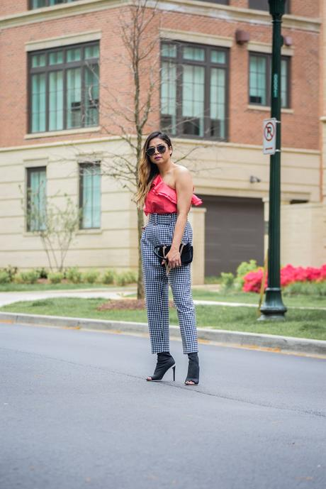 how to wear off shoulder, gingham zara pants, street style, fashion blogger, studded sunglasses, pink cold shoulder, myriad musings