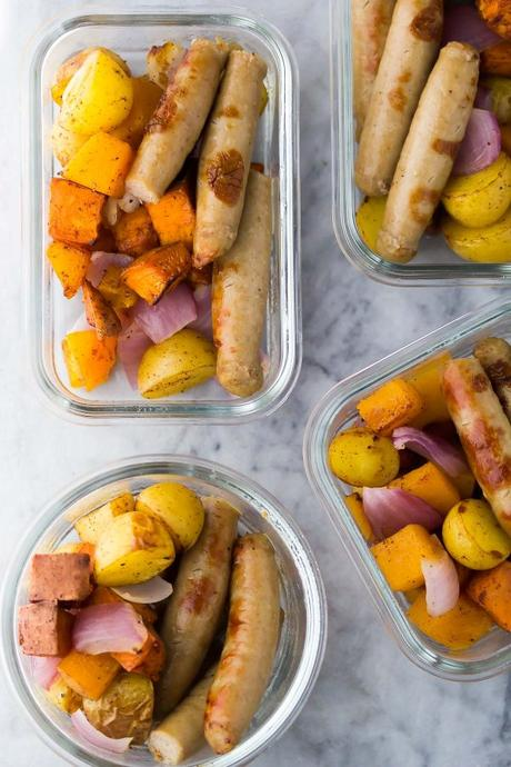 Time Saving Easy Breakfast Recipes; sausage breakfast bowls in meal prep containers
