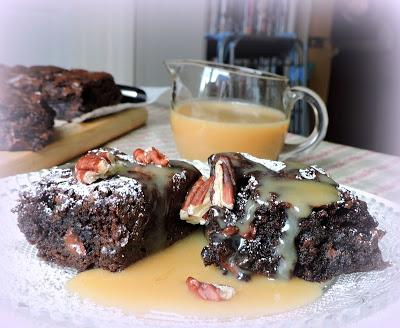 Mochachino Brownies with White Mocha Sauce